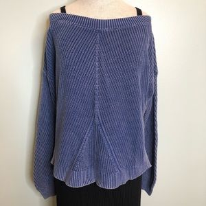 Aerie Blue Ribbed Sweater Size Medium